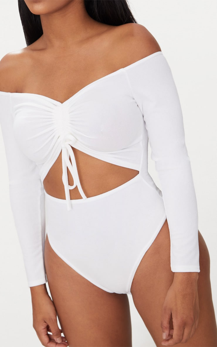 Shape White Ruched Detail Bardot Bodysuit 6