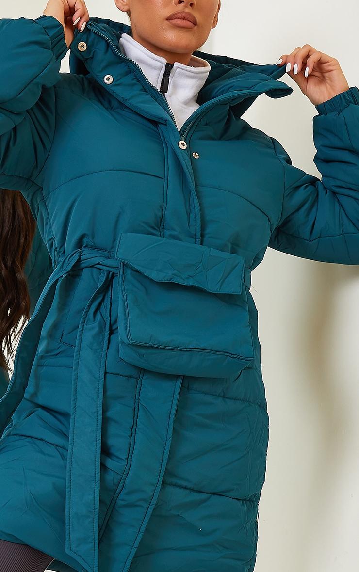 Teal Nylon Fanny Pack Hooded Panel Midi Puffer Jacket 4