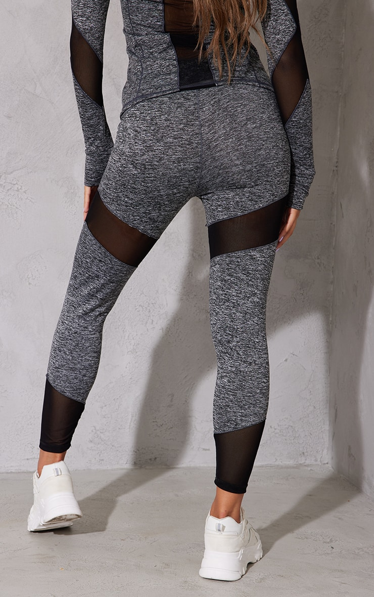 Grey Mesh Panel Marl Gym Legging 3