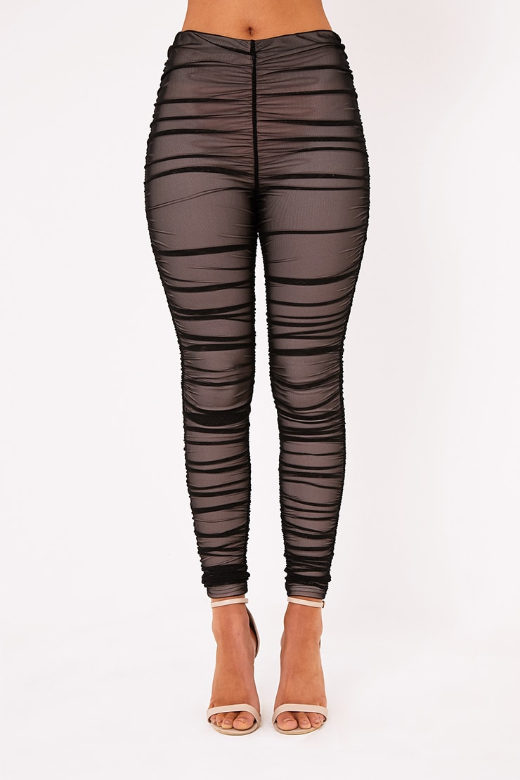 Piera Black Ruched Mesh Pants 3