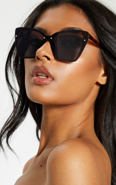 Tortoiseshell Hidden Frame Oversized Cat Eye Sunglasses