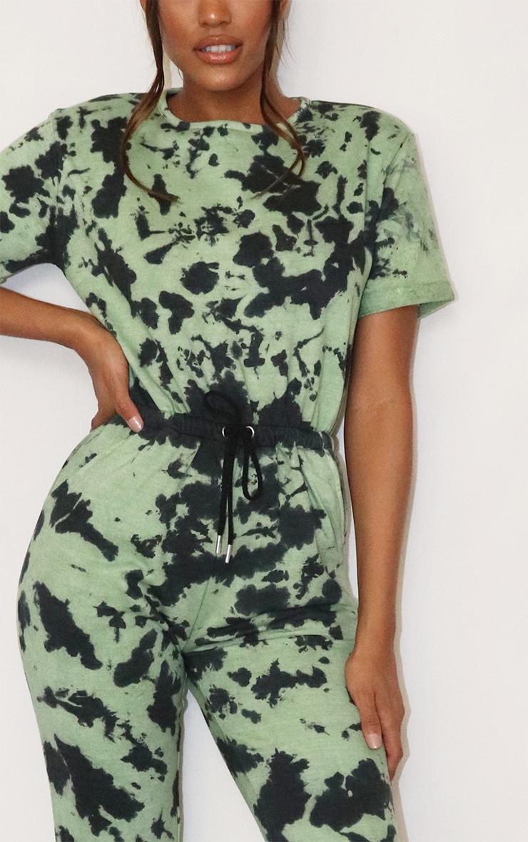 Sage Green Tie Dye Short Sleeve Sweat Jumpsuit 4