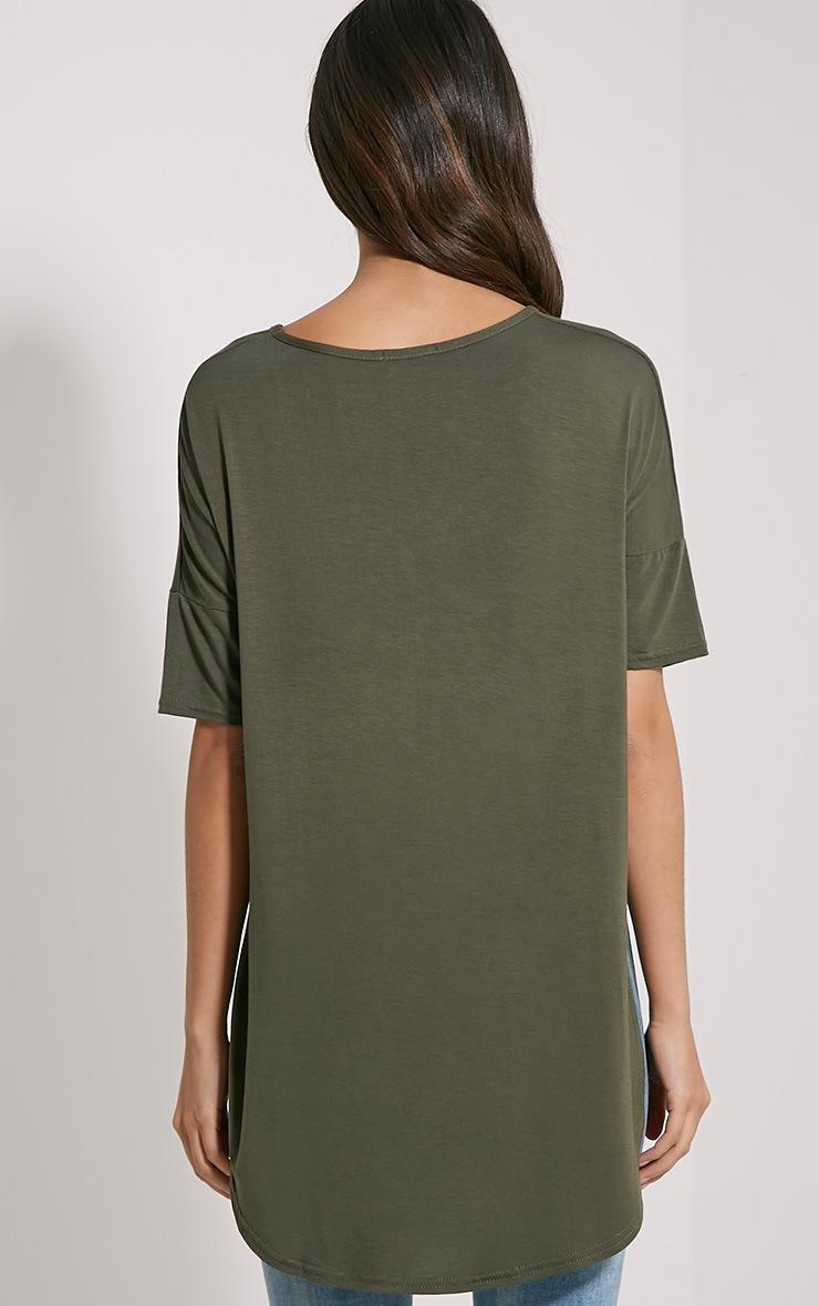 Basic Khaki Dip Hem Loose T-Shirt 2