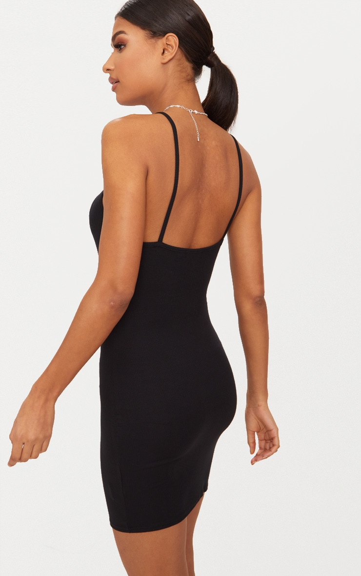 Basic Black Ribbed 90's Neck Bodycon Dress 2
