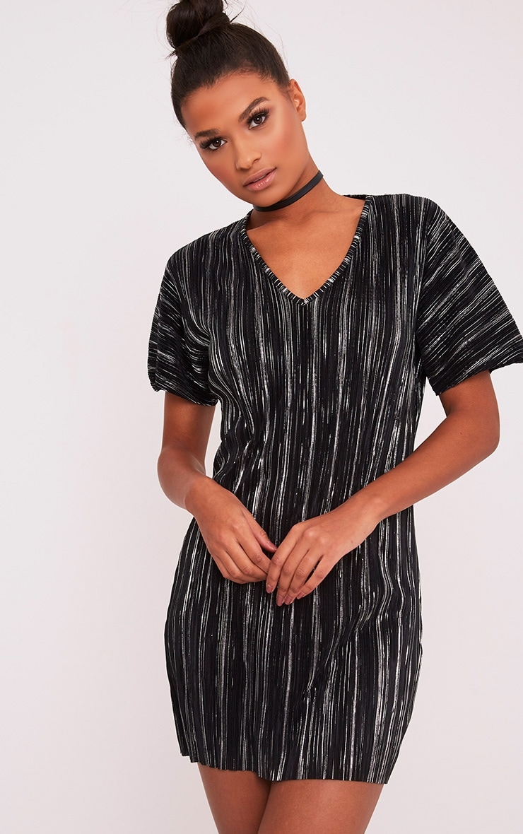 Fione Black Metallic Pleated T-Shirt Dress 1