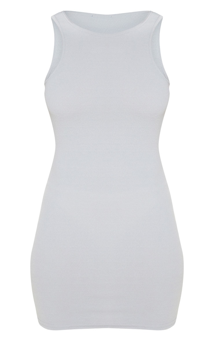 Grey Racer Neck Crepe Bodycon Dress 3