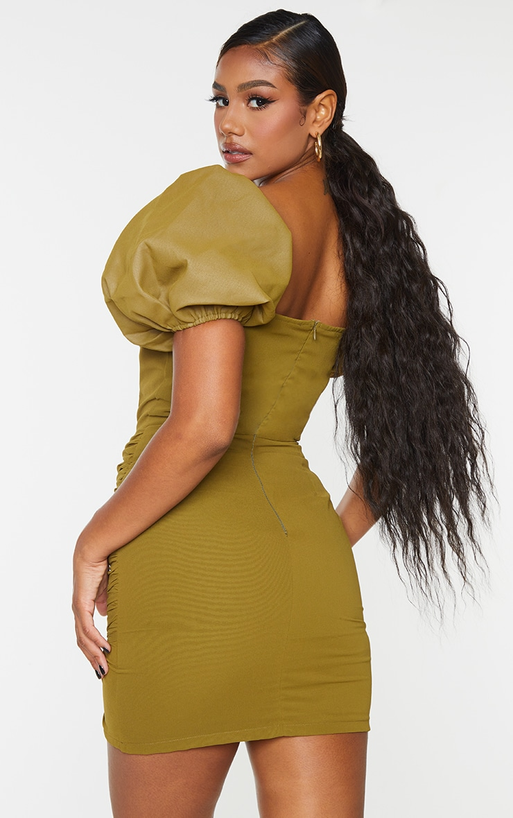 Olive Binding Detail Ruched Hem Bodycon Dress 2