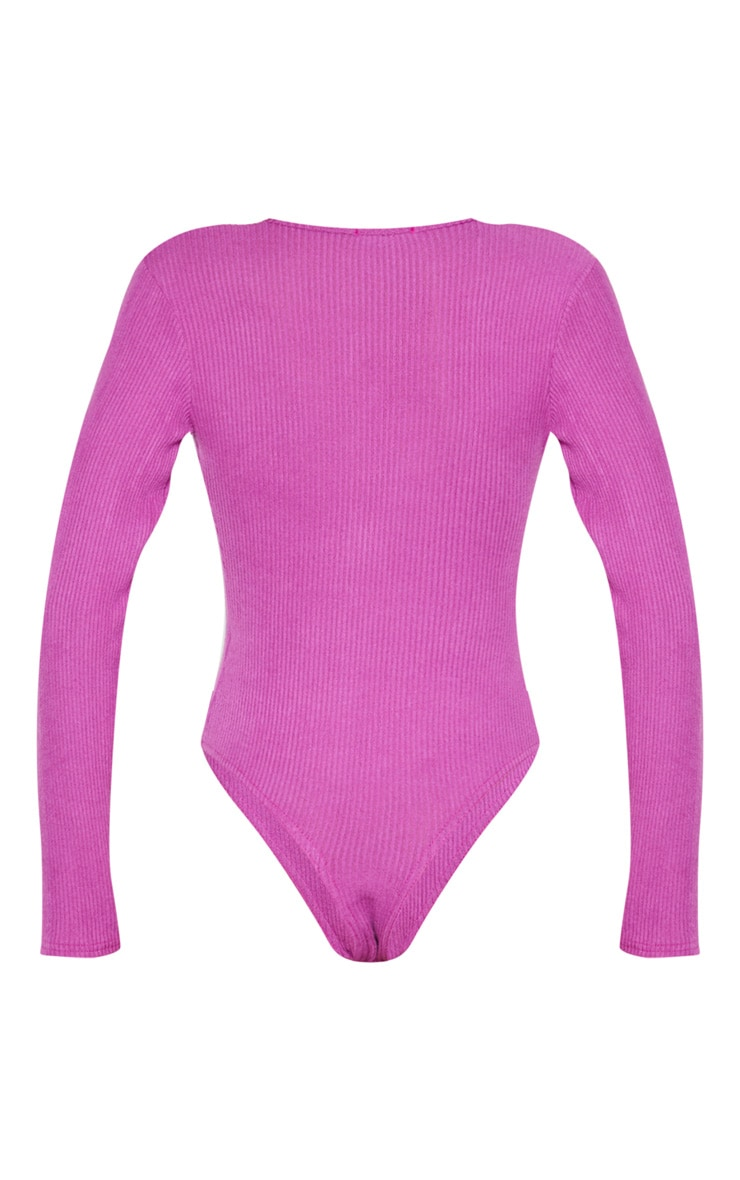 Violet Rib Brushed Button Long Sleeve Bodysuit 4