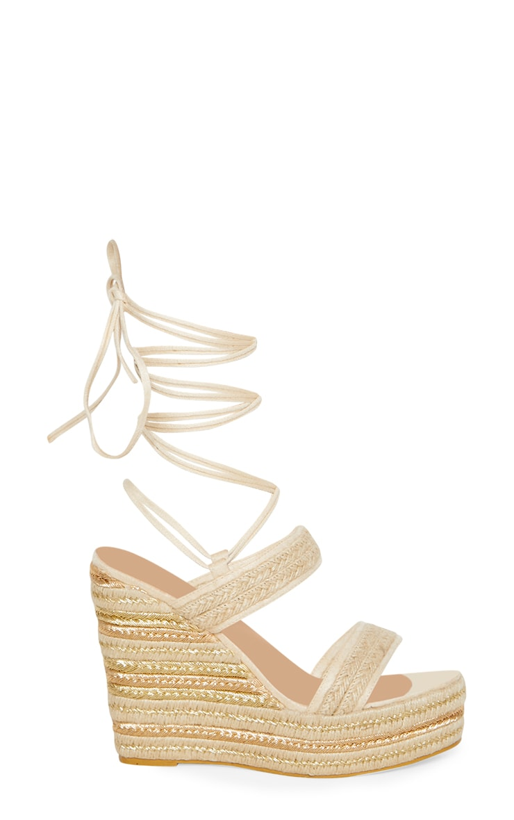 Natural Twin Strap Espadrille Wedge  3