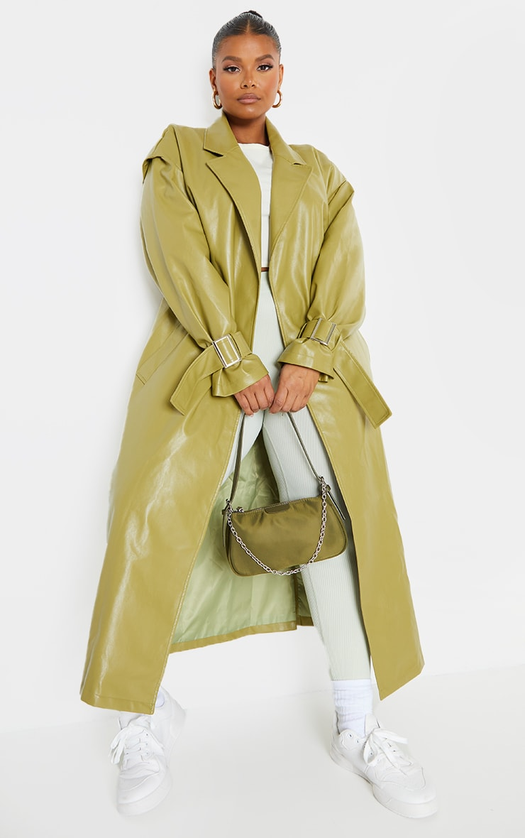 Plus Olive Faux Leather Shoulder Detail Midi Trench image 1