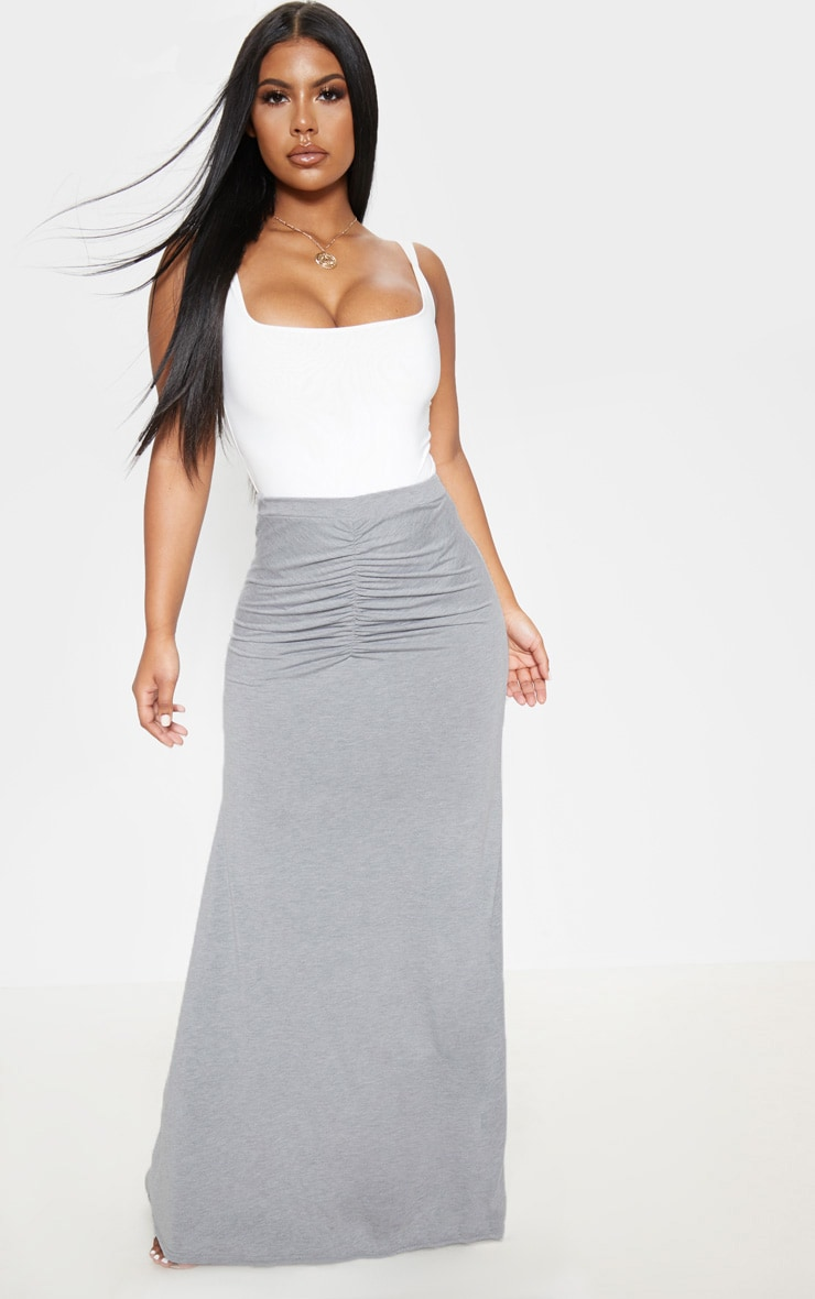Grey Ruched Detail Maxi Skirt  1