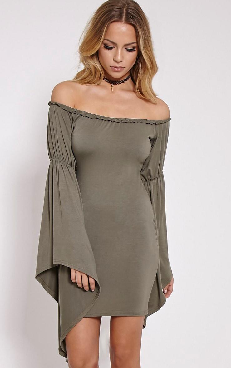 Calla Khaki Extreme Flare Bardot Bodycon Dress 1