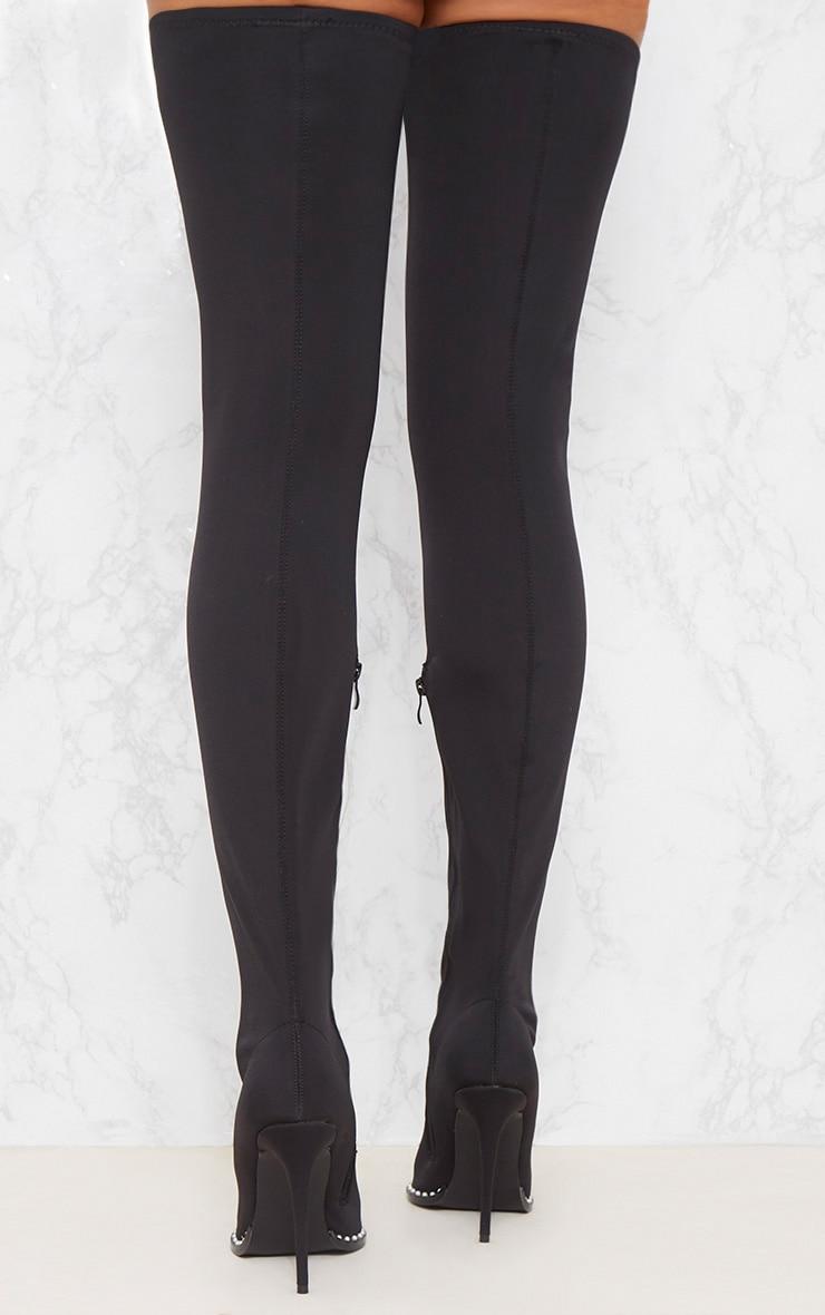 Black Neoprene Pearl Embellished Thigh High Boot 4