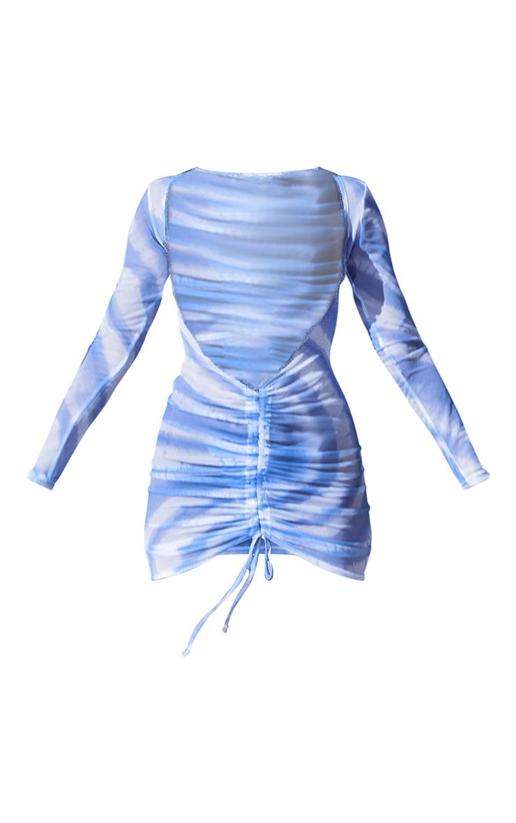 Blue Tie Dye Mesh Ruched Dress 5