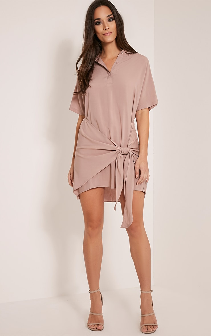 Chessca Nude Tie Front Shirt Dress 5