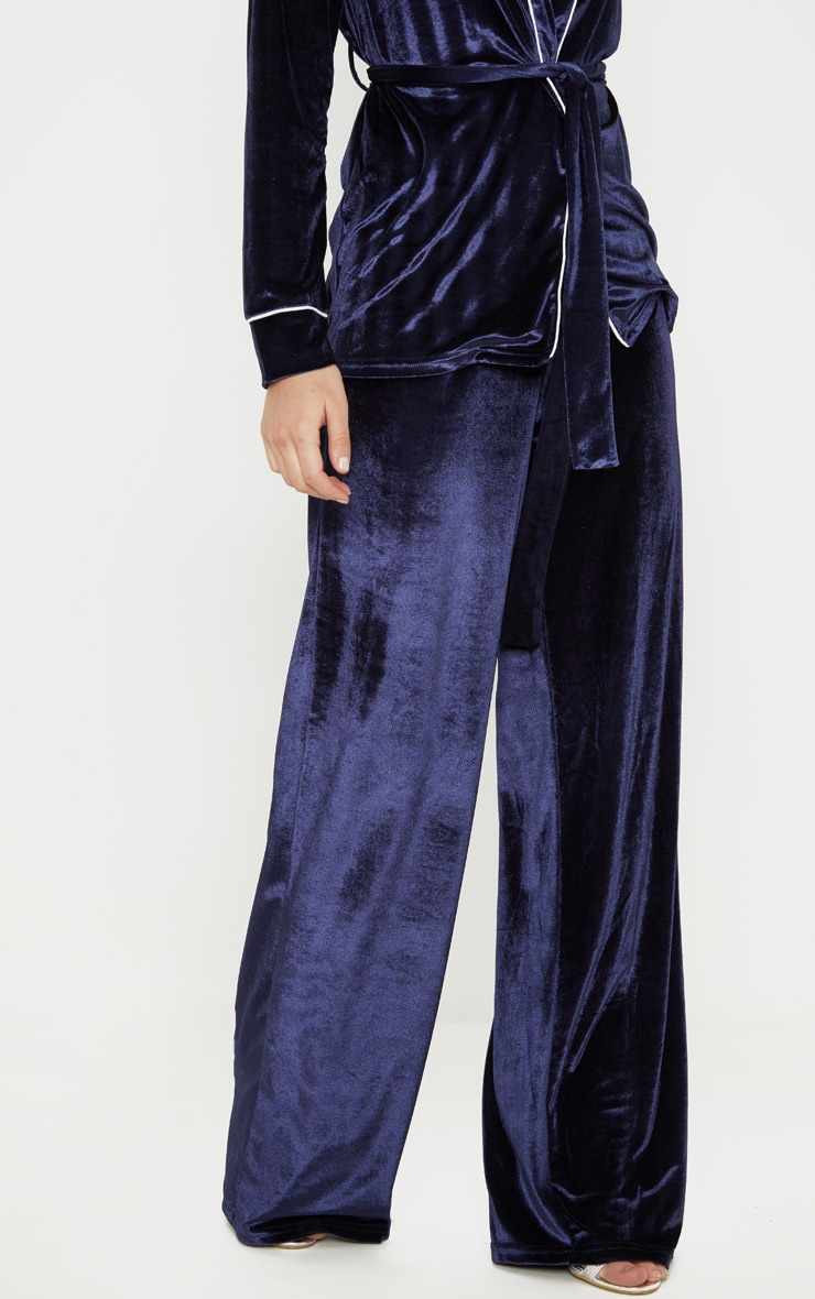Navy Velvet High Waisted Wide Leg Pants 2