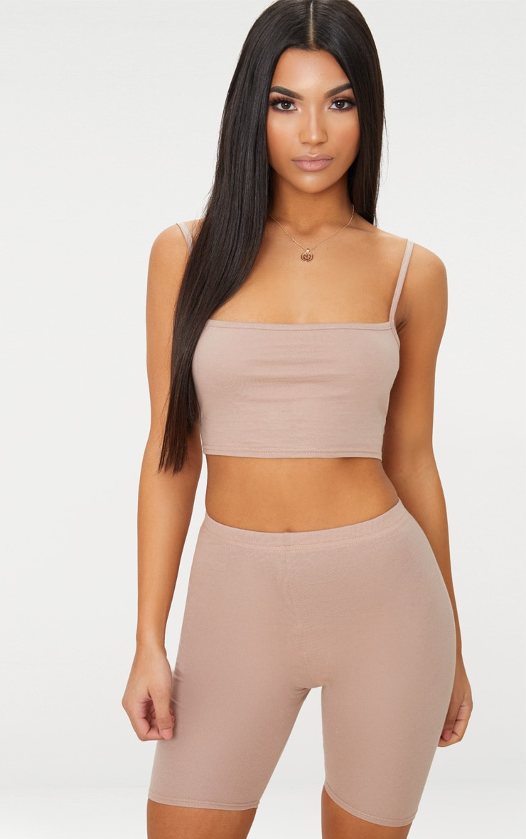 Taupe Jersey Square Neck Crop Top 1