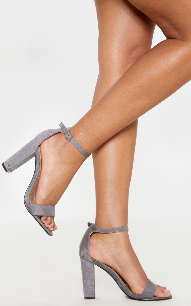 May Grey Faux Suede Block Heeled Sandals 1
