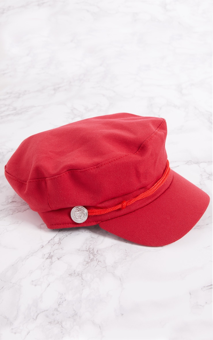 Red Flat Top Baker Boy Hat 3