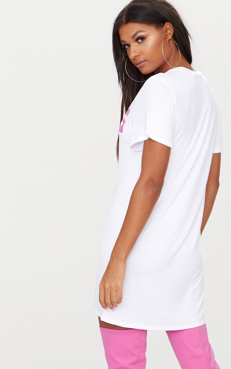 'Extreme' White T Shirt Dress 2