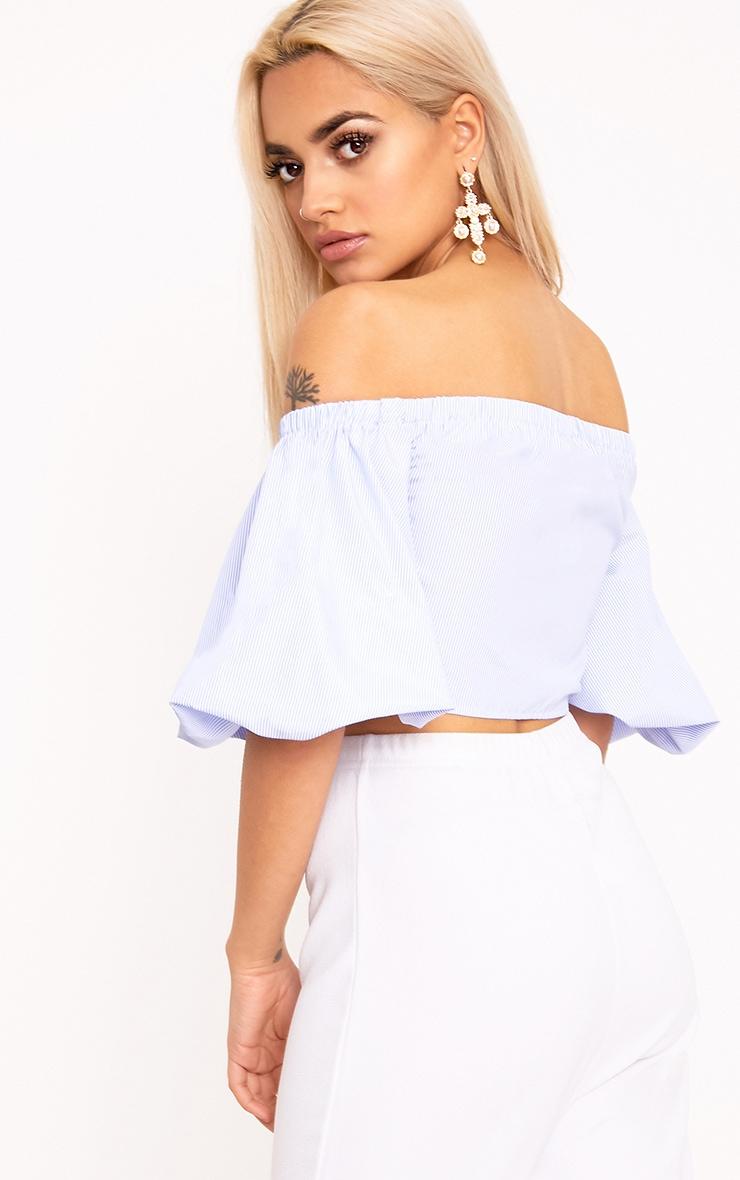 Blue Lace Up Oversized Sleeve Crop Bardot Shirt 2
