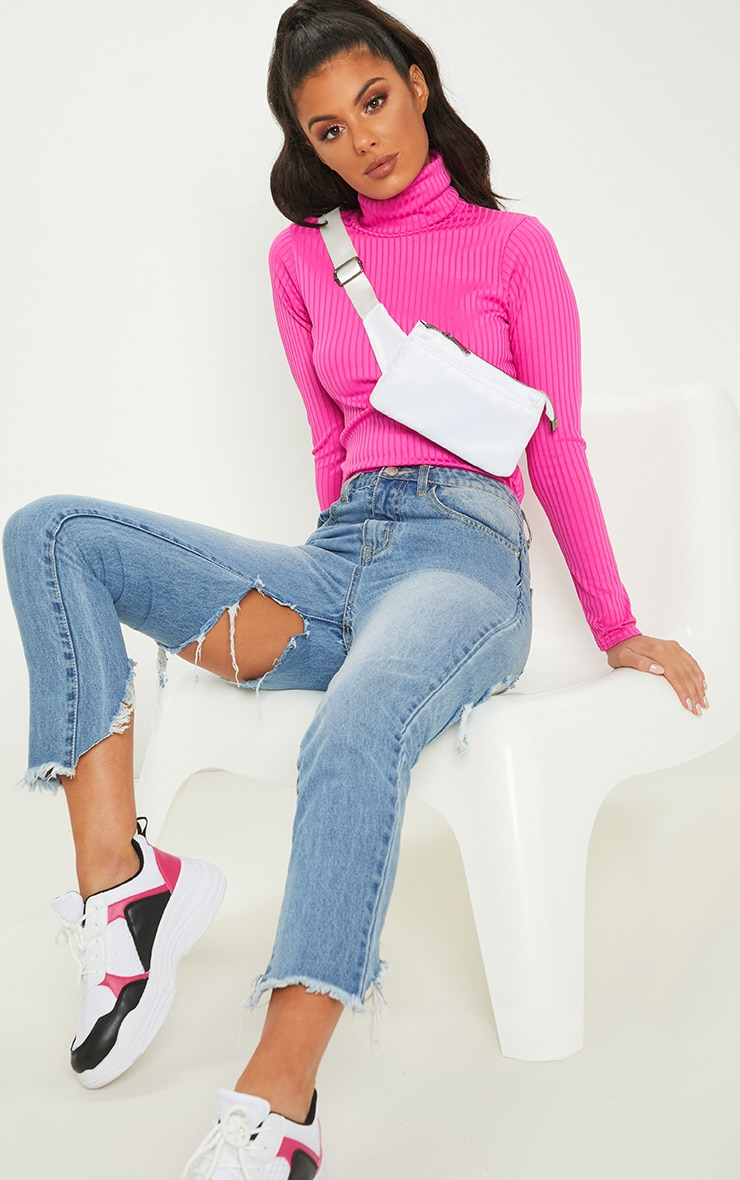 Neon Pink Rib Roll Neck Long Sleeve Top 1