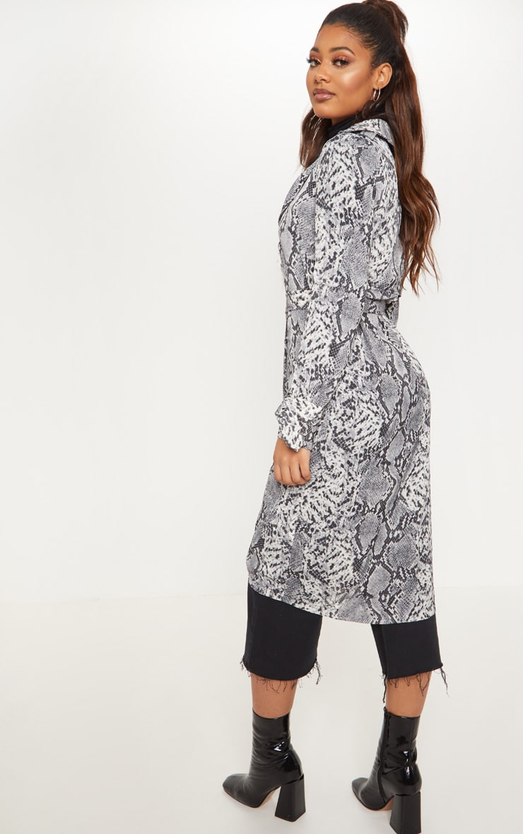 Tall Grey Snake Print Trench Coat 2