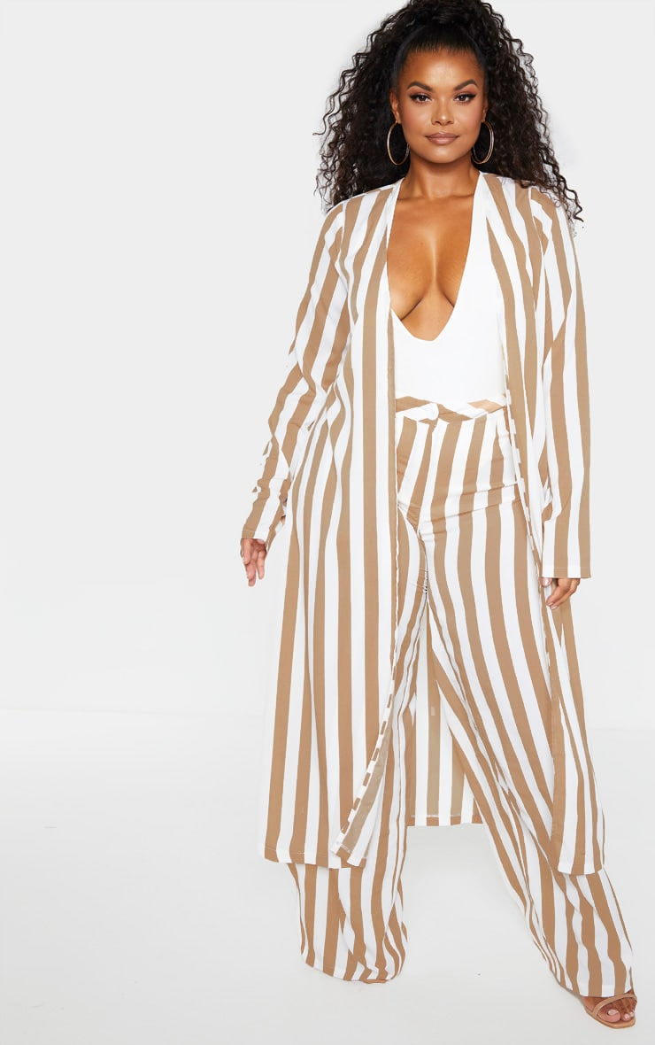 Plus Stone Striped Wide Leg Pants  1