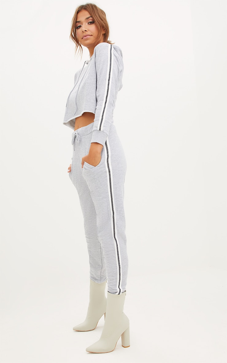 Grey Marl Side Stripe Joggers
