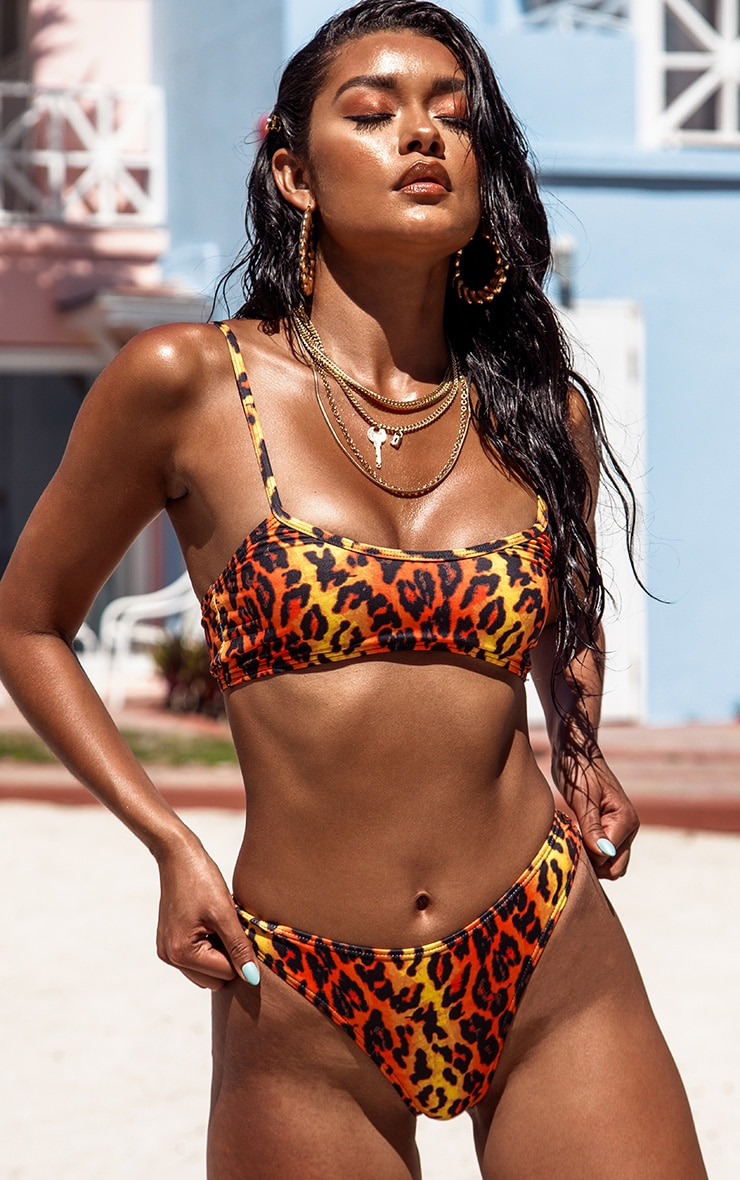 Orange Leopard Print Scoop Neck Bikini Top