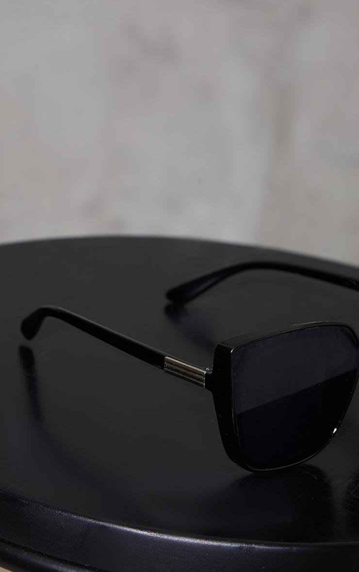 Black Oversized Flat Framed Cat Eye Sunglasses 3
