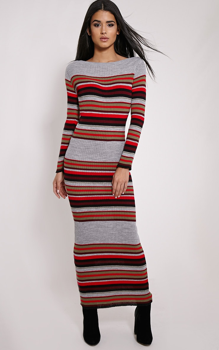 Salima Multi Stripe Rib Knit Jumper Dress 1