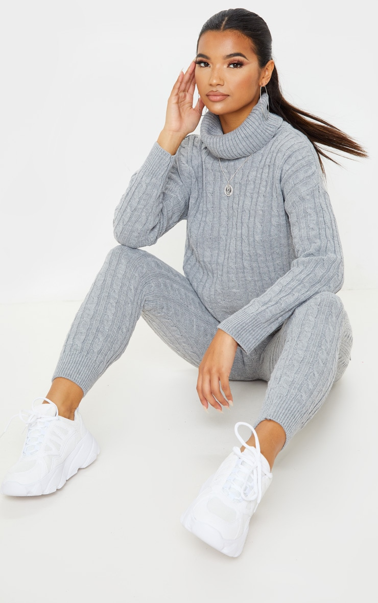 Grey Cable Knit Roll Neck And Legging Set 4