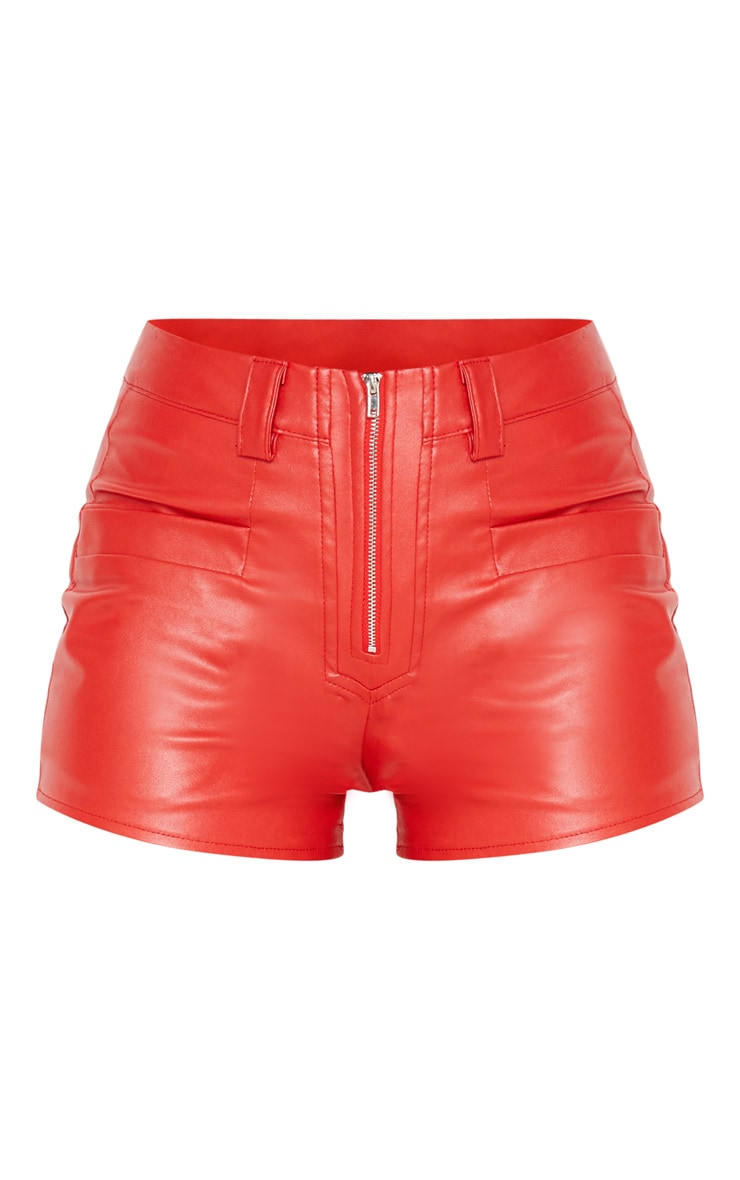 Red Faux Leather Zip Front Short 3