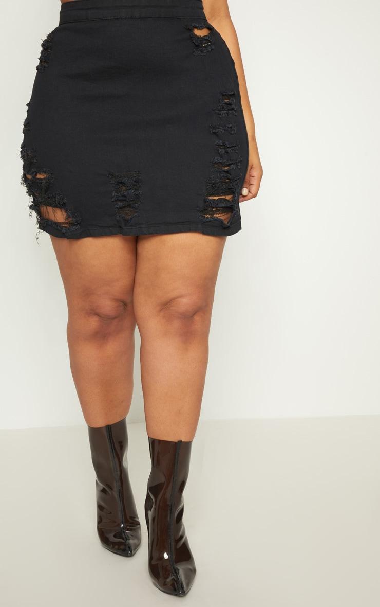 PLT Plus- Mini-jupe en jean noir déchirée 2