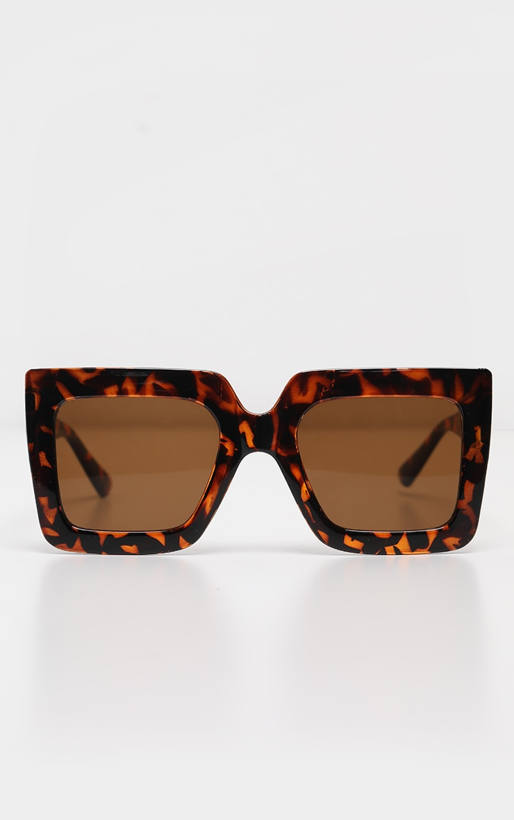 Tortoise Shell Oversized Chunky Square Sunglasses 2