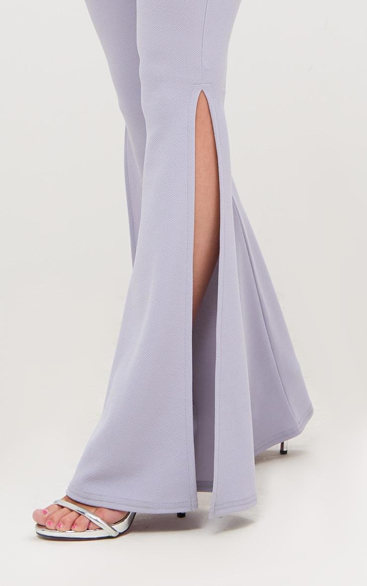 Lilac Grey Split Skinny Flared Trousers 5