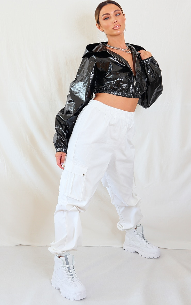Black Holographic Cropped Hooded Tracksuit Jacket 3