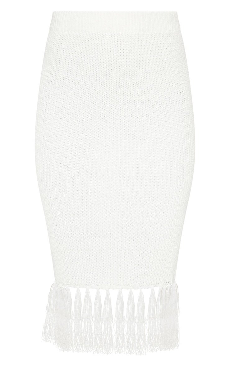 Cream Tassel Hem Knitted Midi Skirt 3