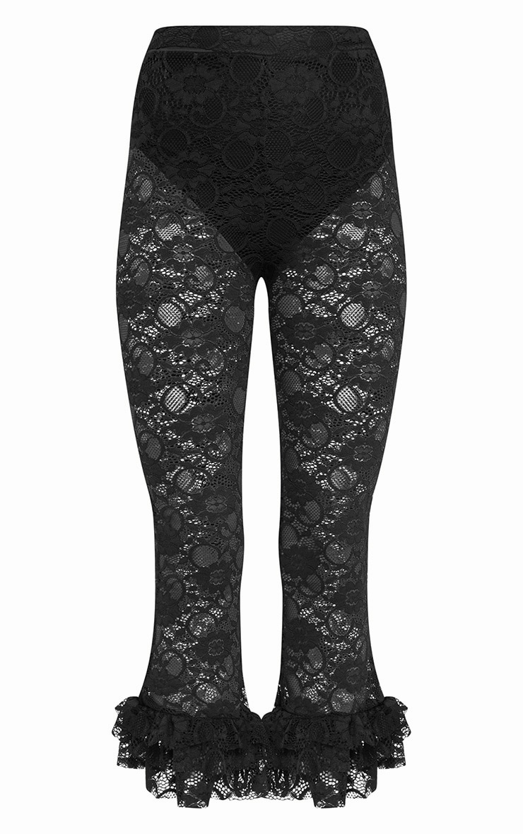 Black Lace Frill Hem Cropped Trousers 3