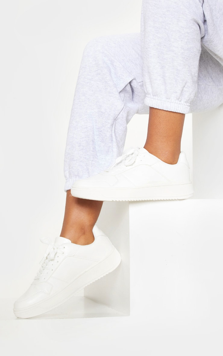 White Lace Up Flatform Trainer 3