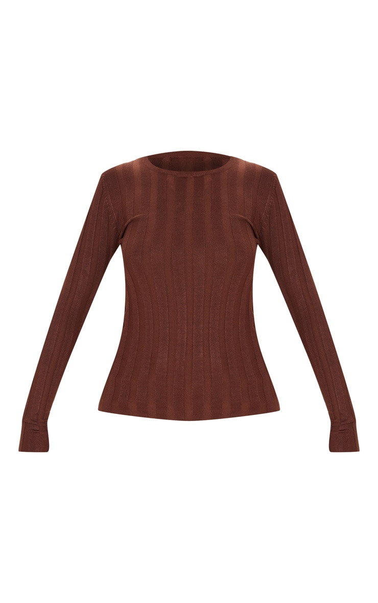 Brown Wide Knitted Rib Fitted Top 3