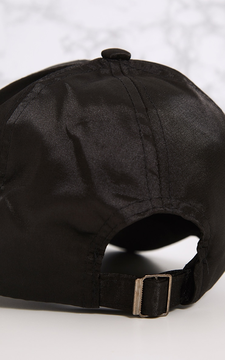 Weslyn Black Satin Baseball Cap 5