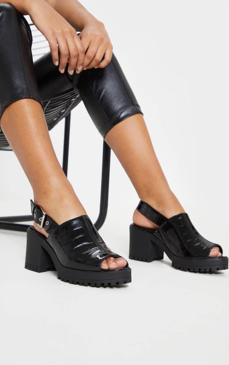 704a81be6731ee Black Patent Slingback Chunky Mule Sandal image 1