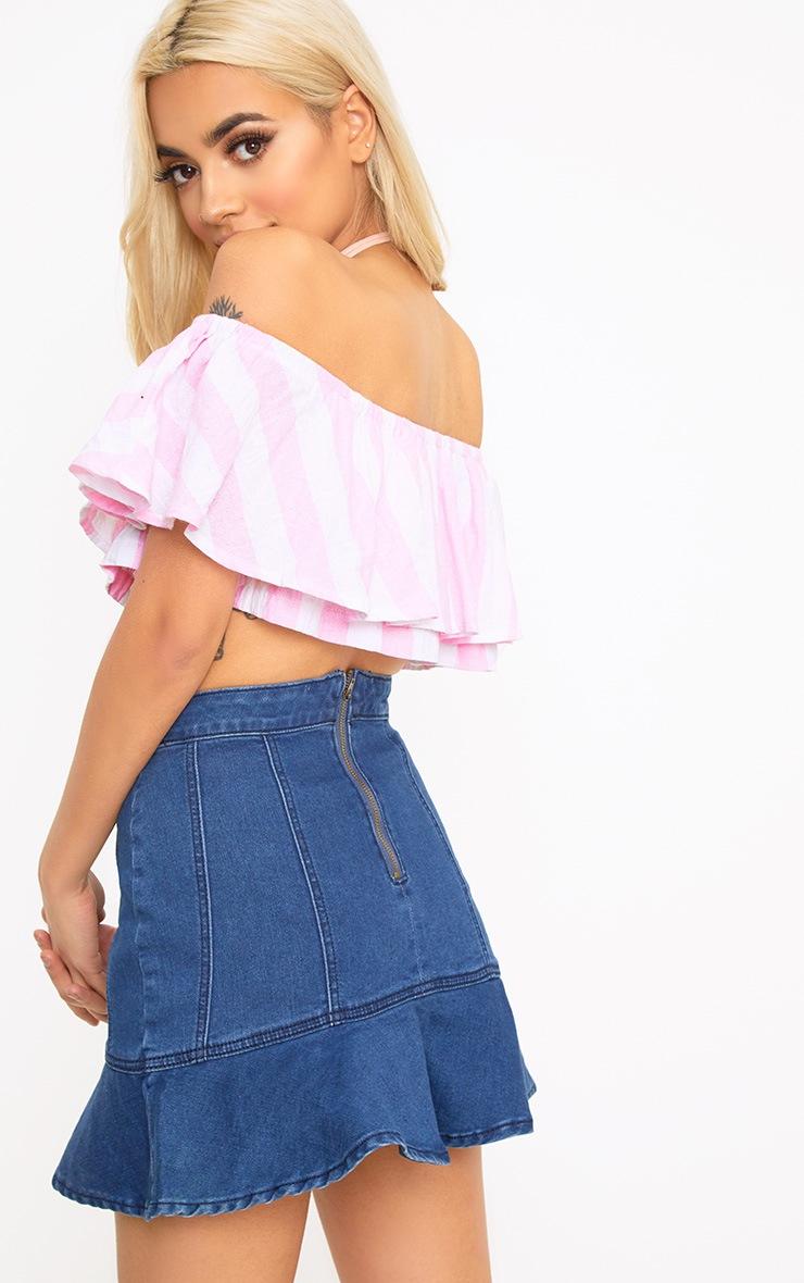 Sophina Pink Cotton Stripe Bardot Crop Top 2