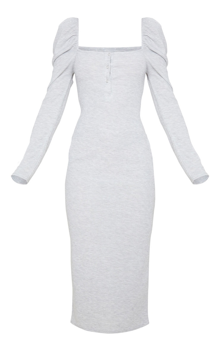 Grey Rib Puff Sleeve Popper Front Midi Dress 6