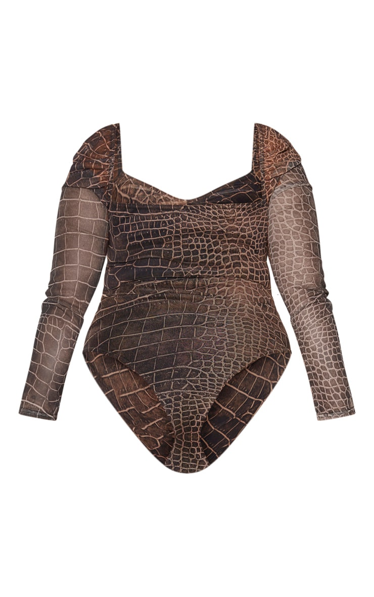 Plus Brown Croc Print Mesh Ruched Front Puff Sleeve Bodysuit 6