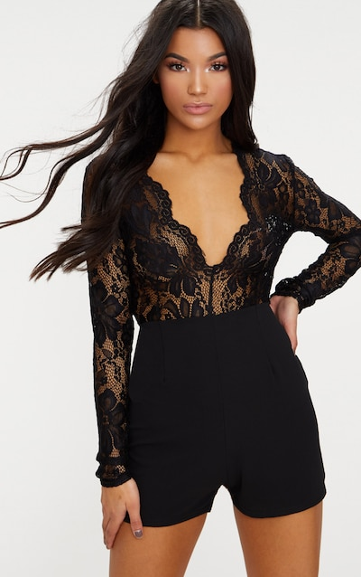 b7da255498b Black Lace Long Sleeve Plunge Playsuit