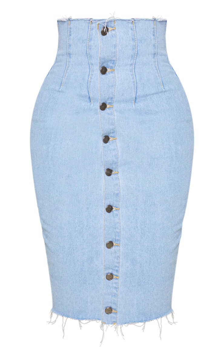 Shape Light Blue Button Front Seam Detail Denim Midi Skirt 5