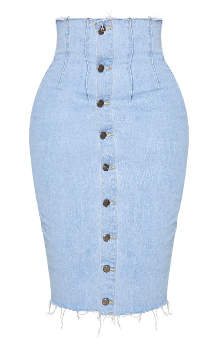 Shape - Jupe en jean très délavé mi-longue boutonnée à détail coutures 5